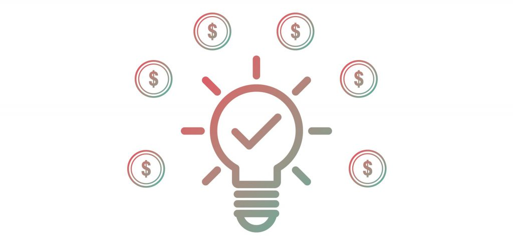 Illustration with a lightbulb and dollar signs