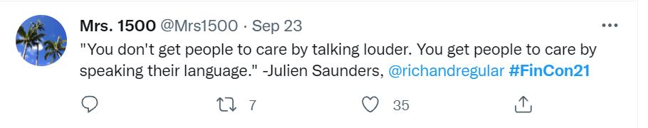 Quote from Julien Saunders in tweet from Mrs. 1500